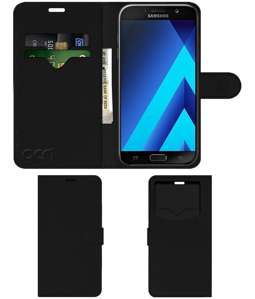 Samsung Galaxy A7 2016 Flip Cover by ACM - Black Wallet Case,Can store 2 Card & 1 Cash Pockets