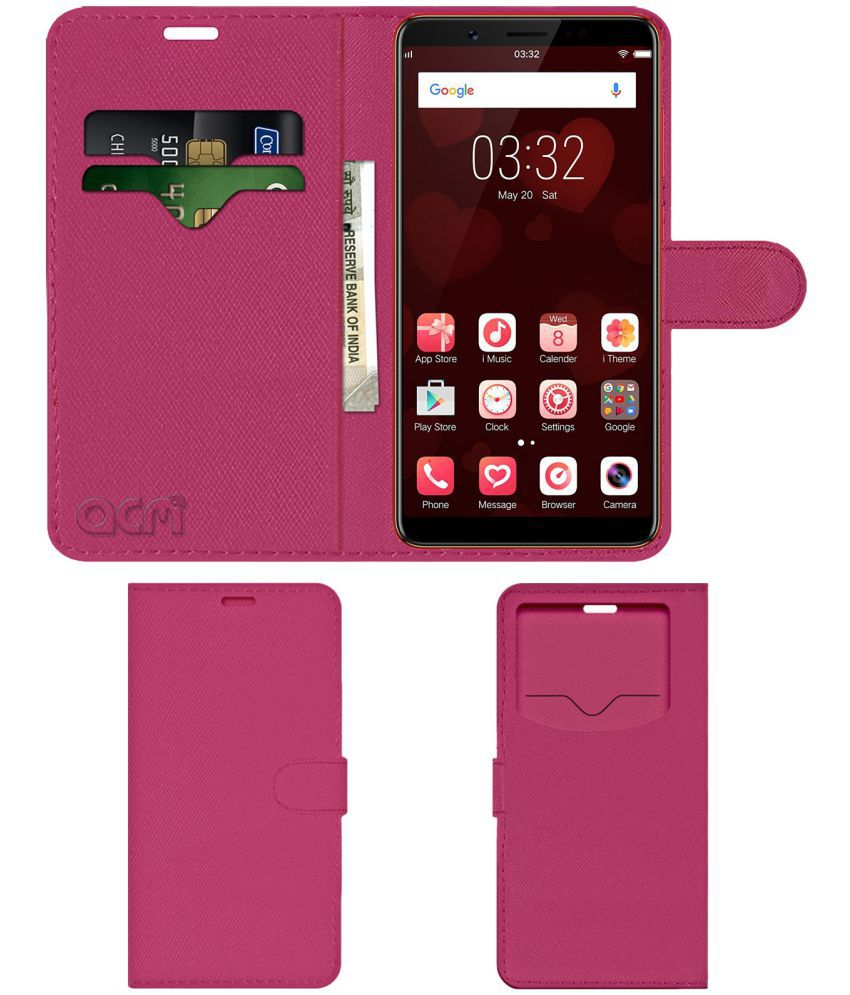 VIVO V7+ INFINITE LOVE LIMITED EDITION Flip Cover by ACM - Pink Wallet Case,Can store 2 Card & 1 Cash Pockets