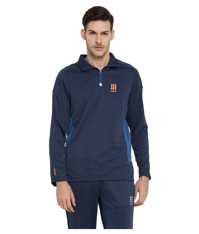 Rock.it Denim Blue Printed Swift DRI Sweatshirts