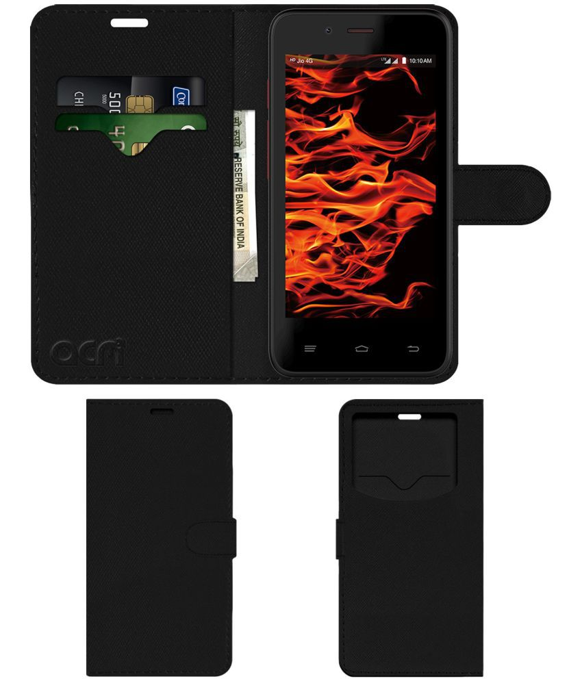 LYF Flame 4 Flip Cover by ACM - Black Wallet Case,Can store 2 Card & 1 Cash Pockets