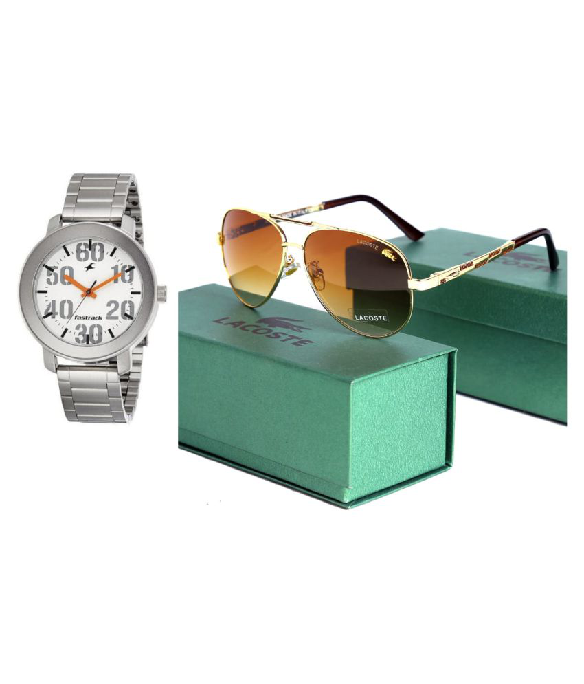62fb363c73 Lacoste Brown Oval Sunglass With Fastrack Watch ( C4500 ) - Buy Lacoste Brown  Oval Sunglass With Fastrack Watch ( C4500 ) Online at Low Price - Snapdeal