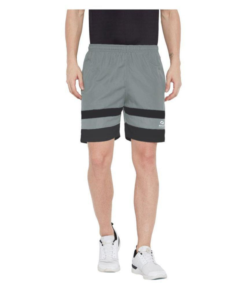 Masch Sports Mens Regular Fit Grey Soft Polyester Sports Shorts-Active Wear, Sports Wear & Gym Wear Shorts For Men