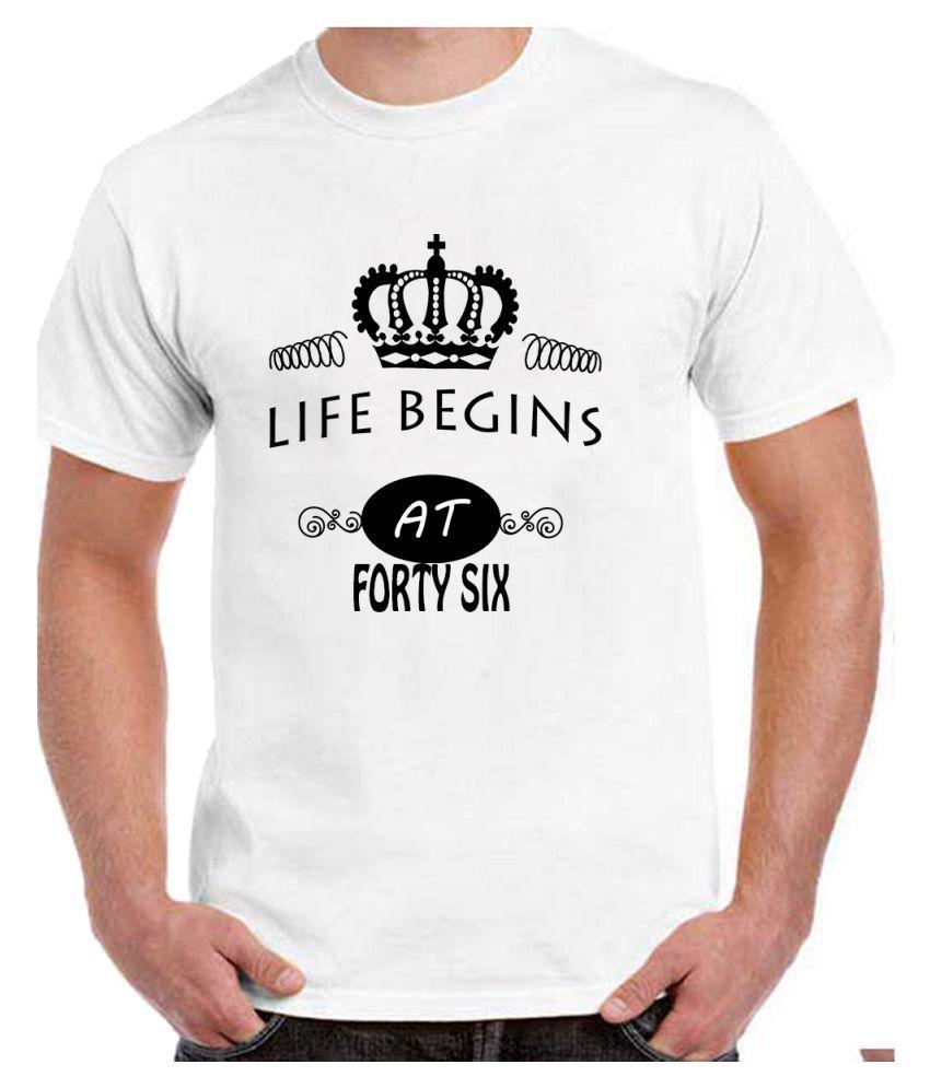 Ritzees Unisex Half Sleeve White Cotton T-Shirt Cotton T-Shirt 46Th Birthday for Men, Women, Kids(White, 38)