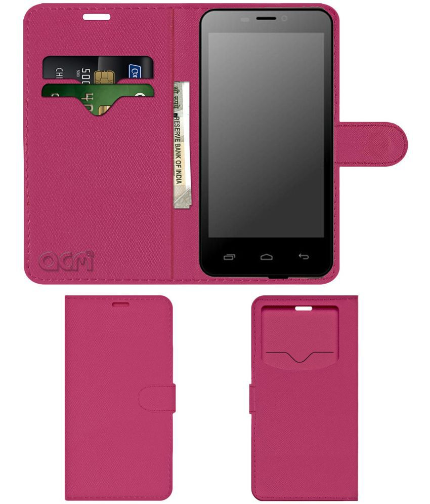 Fly Swift Flip Cover by ACM - Pink Wallet Case,Can store 2 Card & 1 Cash Pockets