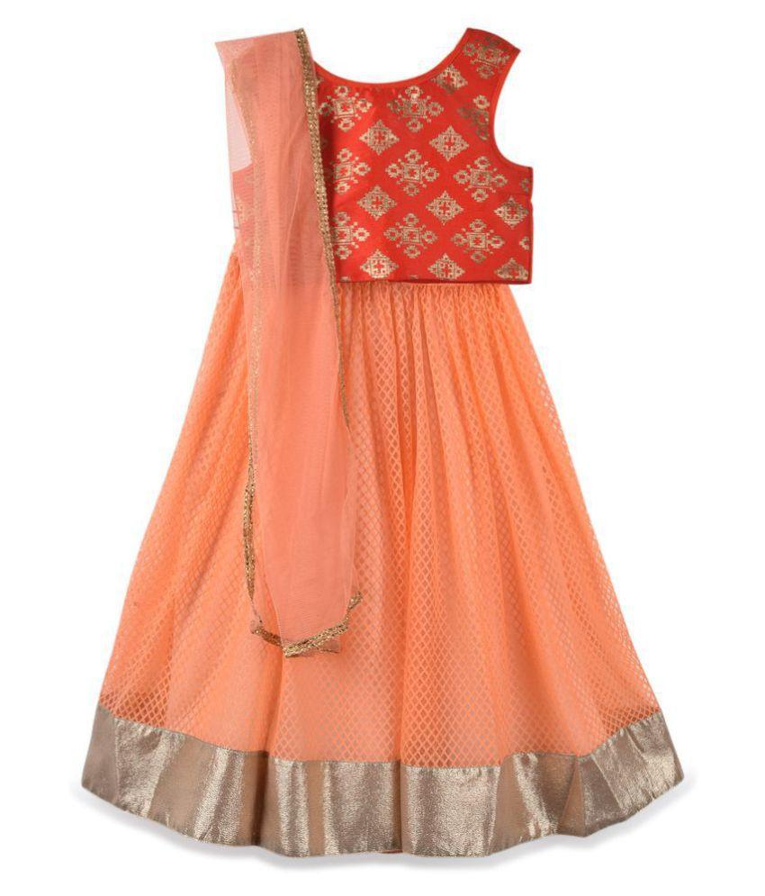 637524ca7b K&U Girls' designer high fashion premium Red and Peach Lehenga Choli - Buy  K&U Girls' designer high fashion premium Red and Peach Lehenga Choli Online  at ...