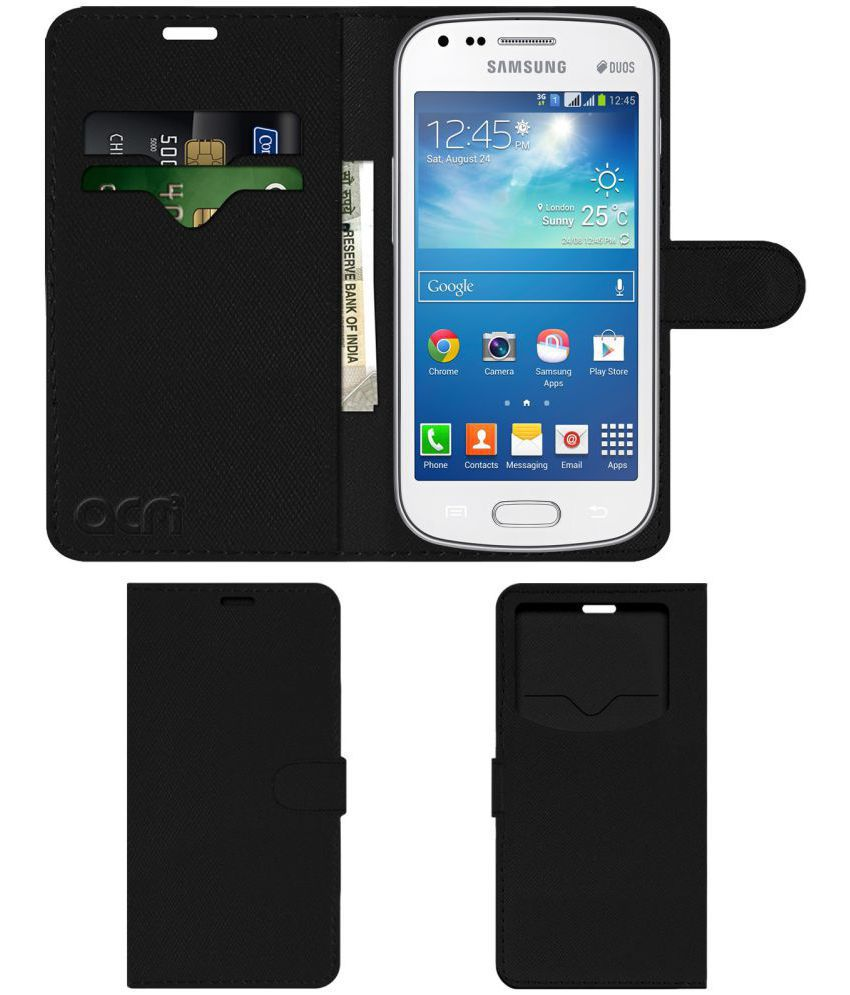 Samsung Galaxy S Duos 2 Flip Cover by ACM - Black Wallet Case,Can store 2 Card & 1 Cash Pockets