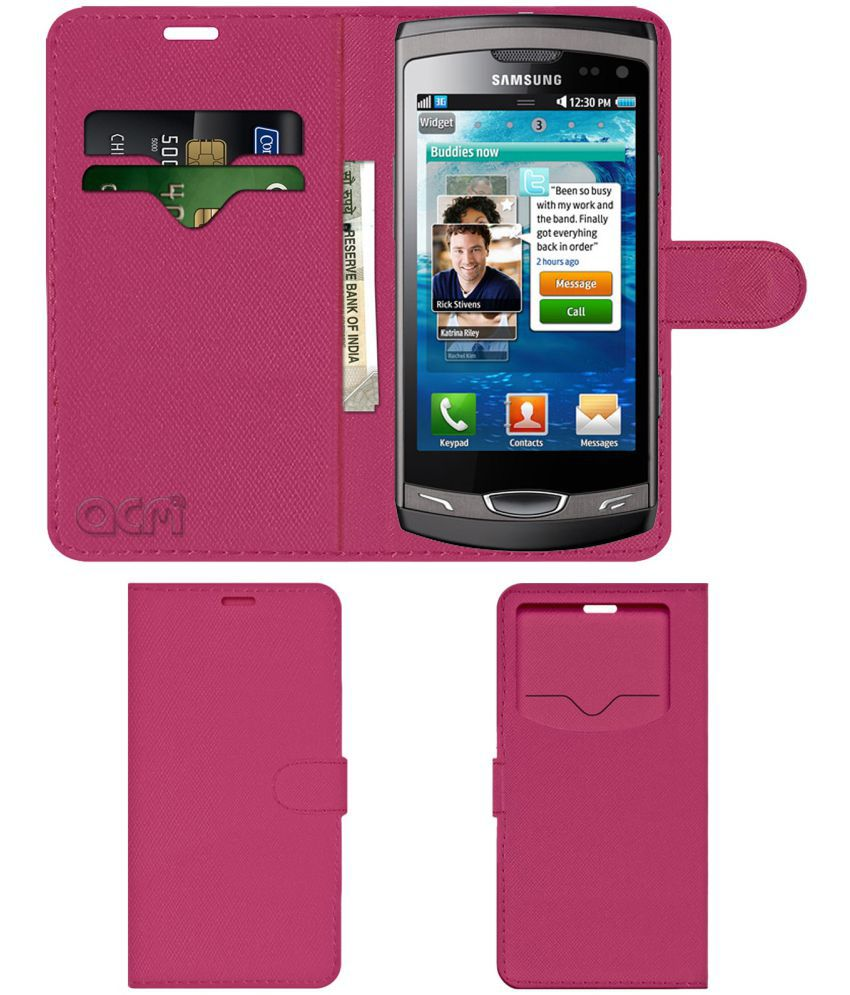 Samsung S8530 Wave 2 Ii Flip Cover by ACM - Pink Wallet Case,Can store 2 Card & 1 Cash Pockets
