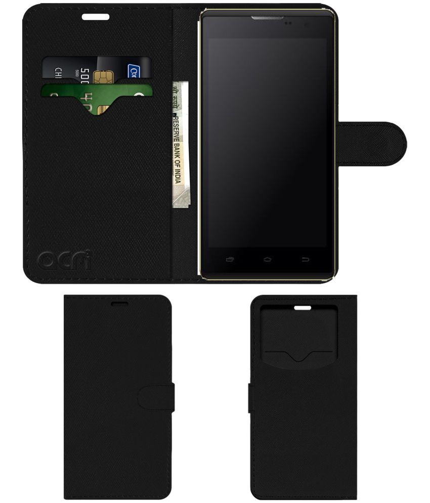 Intex Cloud String V2.0 Flip Cover by ACM - Black Wallet Case,Can store 2 Card & 1 Cash Pockets