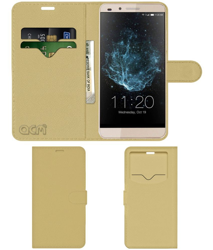 Lychee T1 Flip Cover by ACM - Golden Wallet Case,Can store 2 Card & 1 Cash Pockets