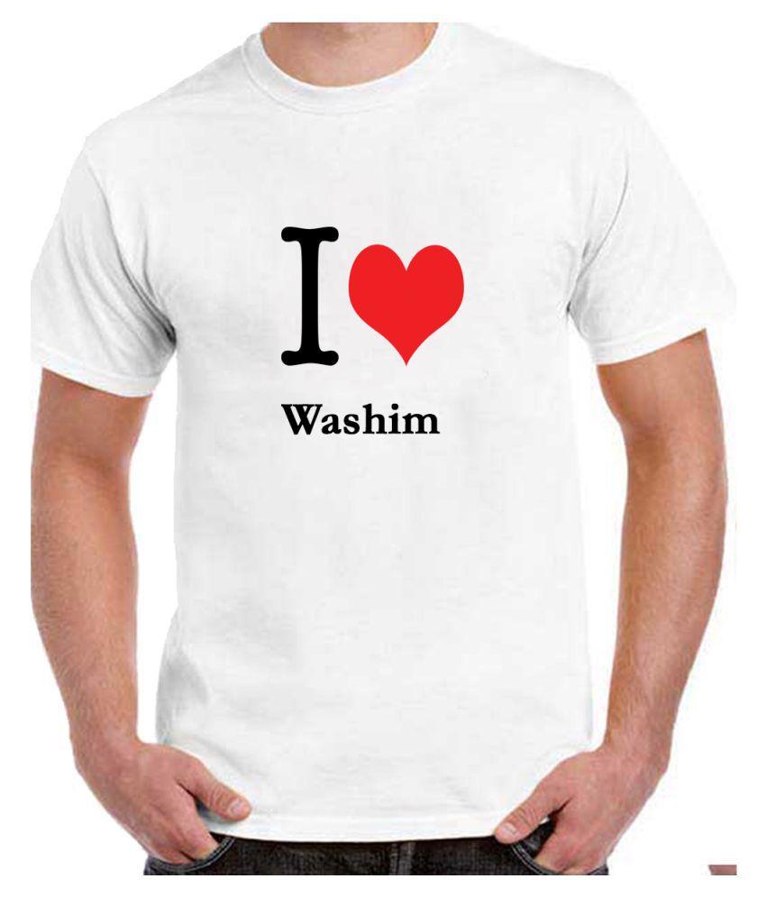 Ritzees Unisex Half Sleeve White Cotton T-Shirt Cotton T-Shirt Washim City for Men, Women, Kids(White, 50)