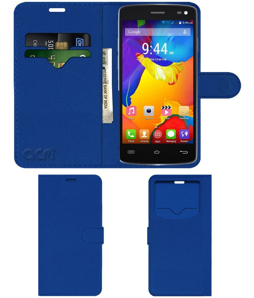 SALORA ARYA Z3 Flip Cover by ACM - Blue Wallet Case,Can store 2 Card & 1 Cash Pockets