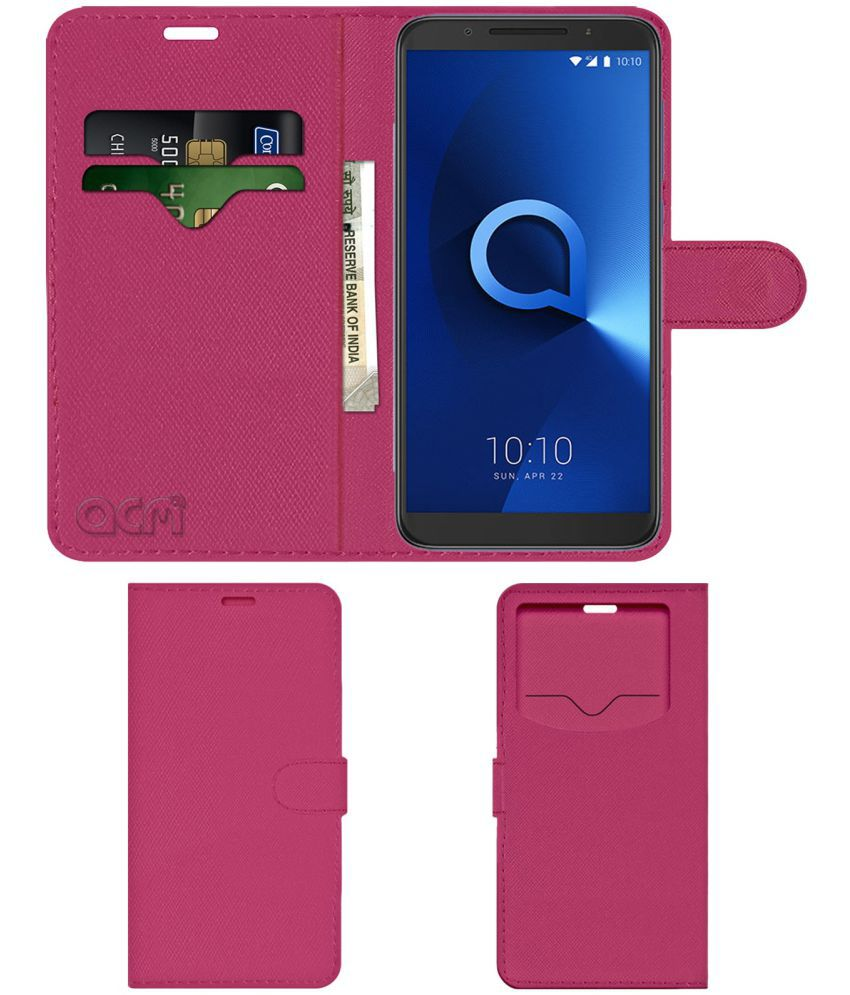 ALCATEL 3 Flip Cover by ACM - Pink Wallet Case,Can store 2 Card & 1 Cash  Pockets