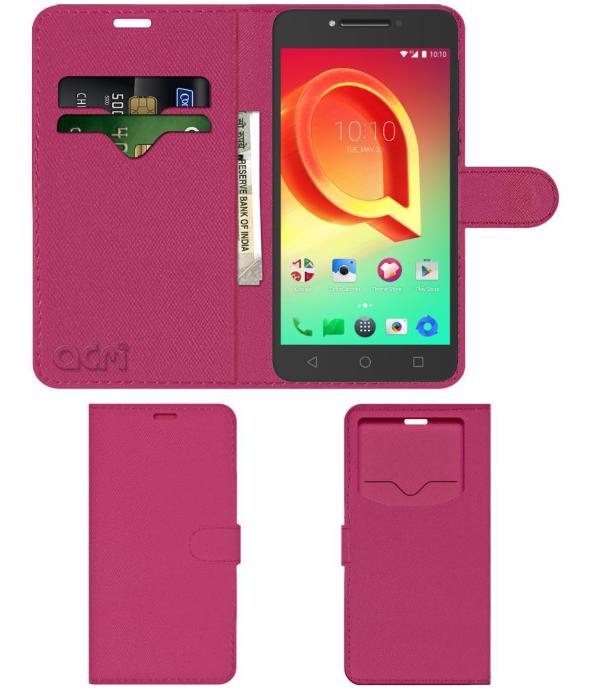 Alcatel A5 Led Flip Cover by ACM - Pink Wallet Case,Can store 2 Card & 1 Cash Pockets