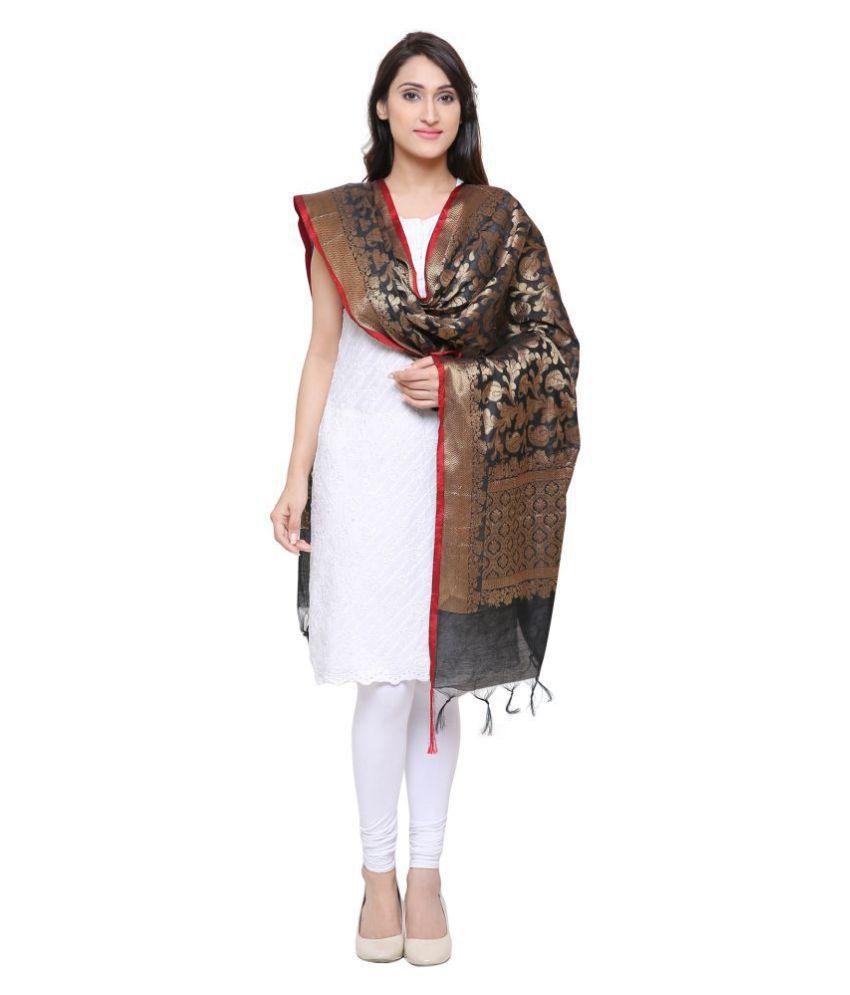 b05d297944 Devam Black Cotton Silk Banarasi Dupatta Devam Black Cotton Silk Banarasi  Dupatta ...