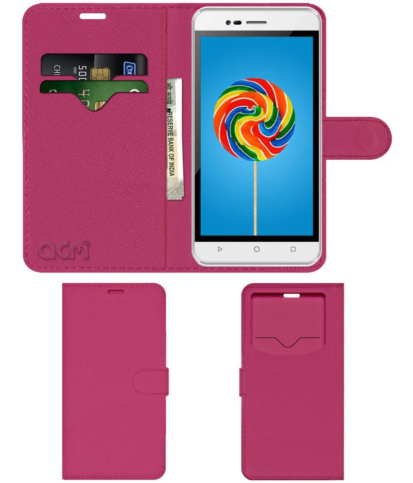 Intex Aqua Air Flip Cover by ACM - Pink Wallet Case,Can store 2 Card & 1 Cash Pockets