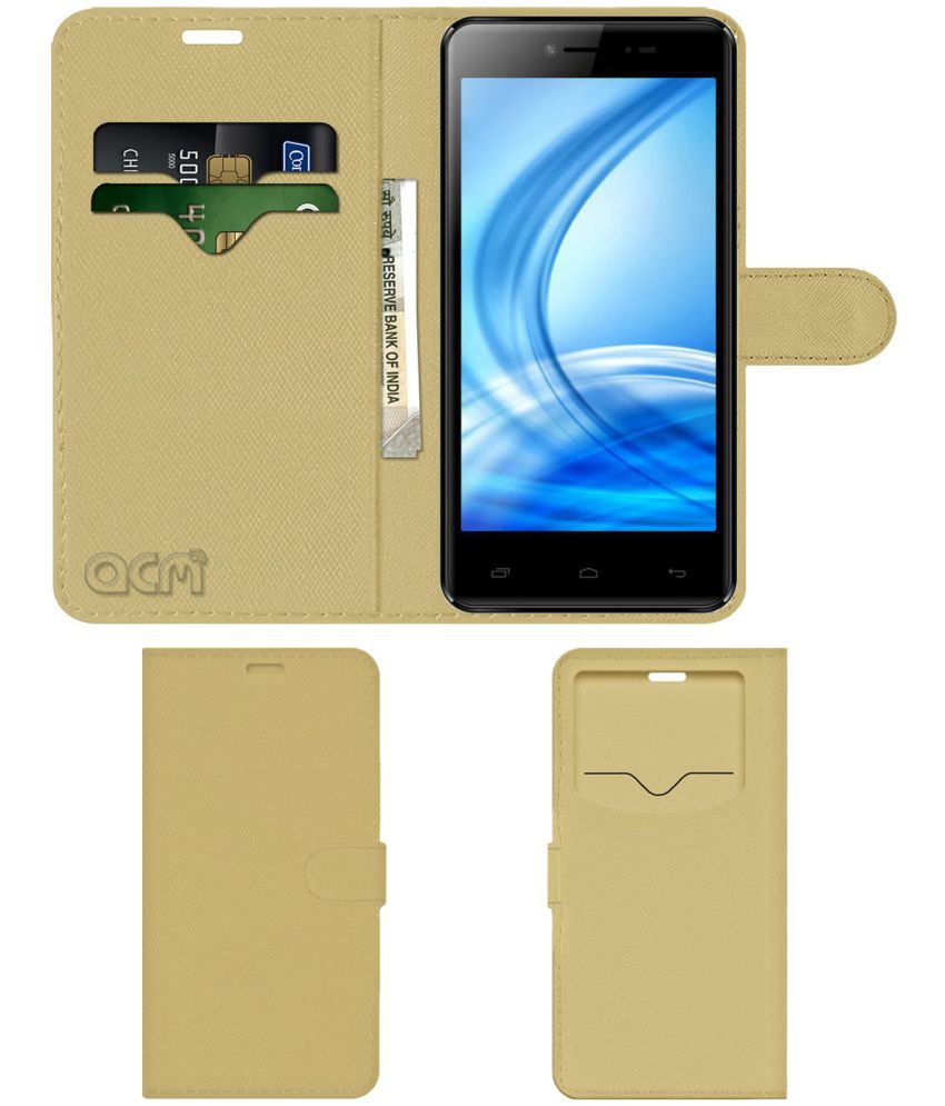 MAFE SHINE M820 Flip Cover by ACM - Golden Wallet Case,Can store 2 Card & 1 Cash Pockets