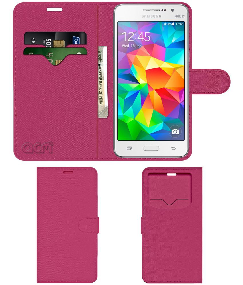 promo code f6375 50c5f Samsung Galaxy Grand Prime Flip Cover by ACM - Pink Wallet Case,Can store 2  Card & 1 Cash Pockets
