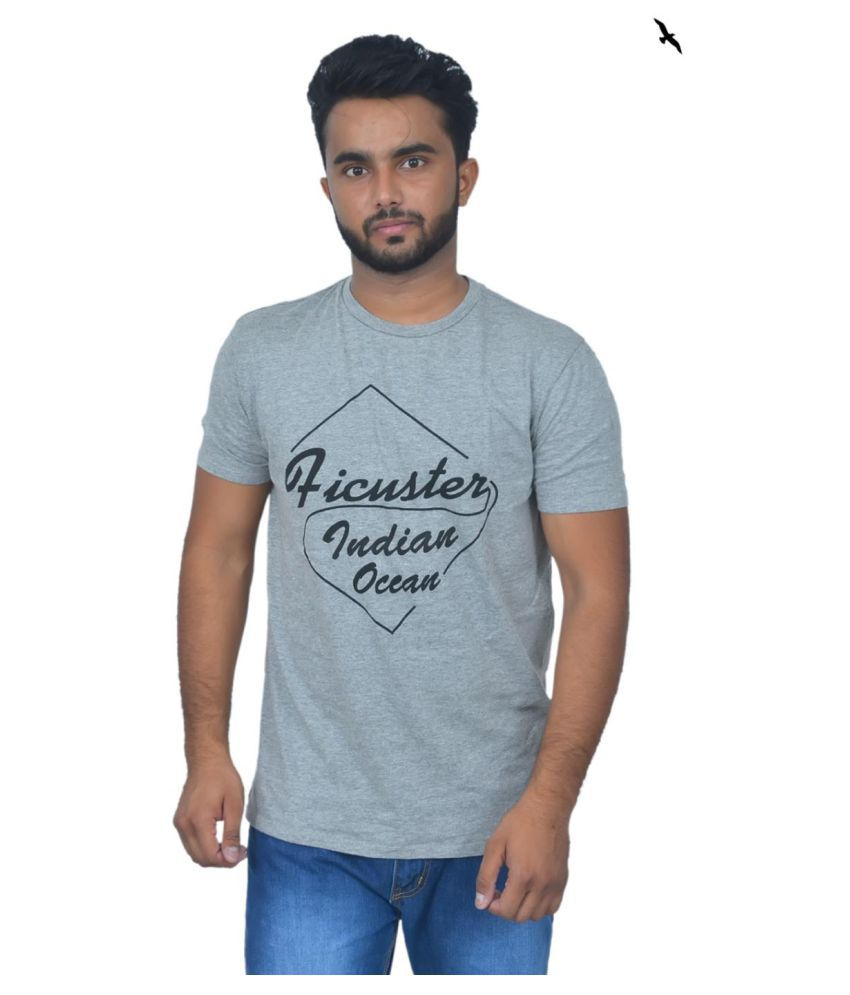 Ficuster Grey Half Sleeve T-Shirt Pack of 1