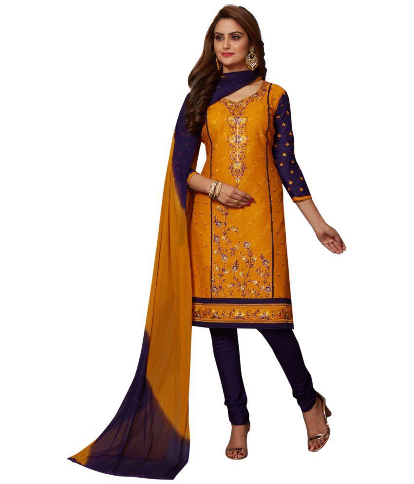 Salwar Studio Yellow and Black Cotton Dress Material