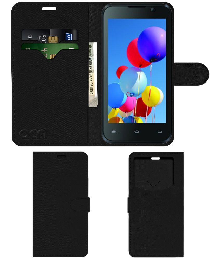 online retailer 73798 b79bf Intex Aqua Y2 Pro Flip Cover by ACM - Black Wallet Case,Can store 2 Card &  1 Cash Pockets