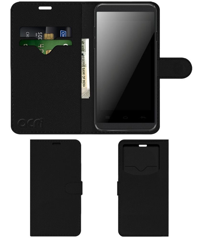 Karbonn A15+ Flip Cover by ACM - Black Wallet Case,Can store 2 Card & 1 Cash Pockets