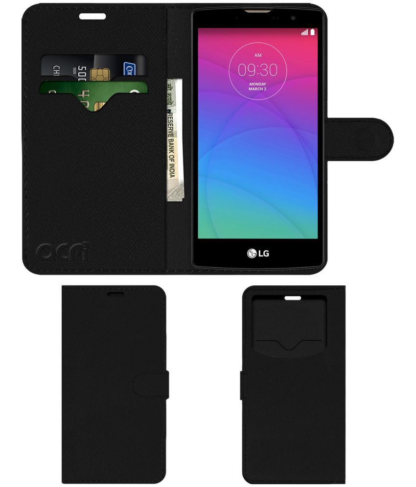 finest selection 6c61f c0354 Lg Spirit 4G Flip Cover by ACM - Black Wallet Case,Can store 2 Card & 1  Cash Pockets