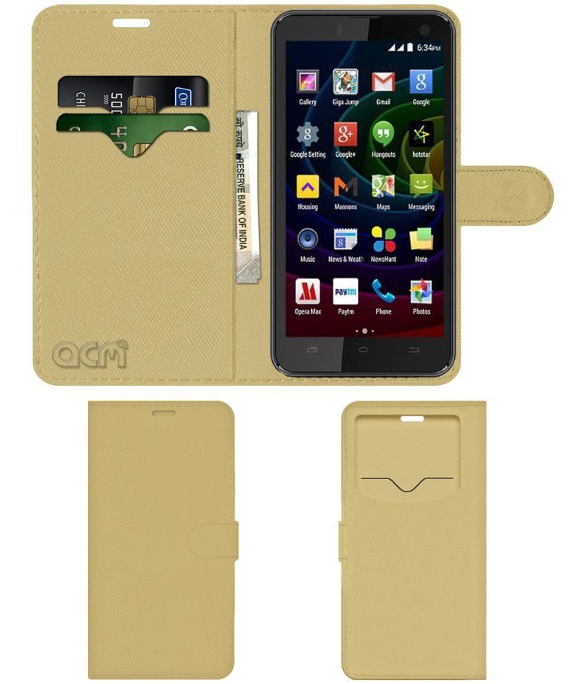 Micromax Bolt Q335 Flip Cover by ACM - Golden Wallet Case,Can store 2 Card & 1 Cash Pockets