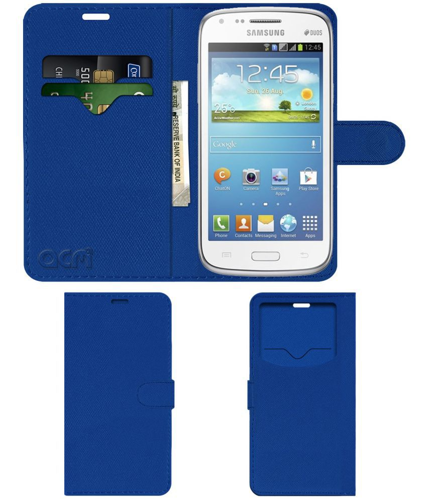 Samsung Galaxy Core Flip Cover by ACM - Blue Wallet Case,Can store 2 Card & 1 Cash Pockets