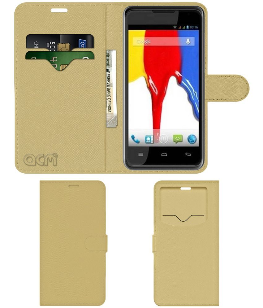 Videocon A26 Flip Cover by ACM - Golden Wallet Case,Can store 2 Card & 1 Cash Pockets
