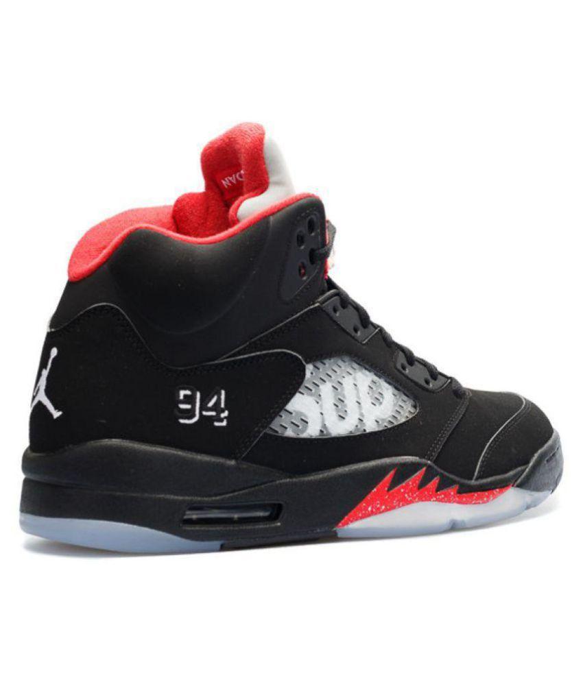 finest selection 2f737 fb1bc AIR JORDAN Retro 5 Supreme Edition Black Basketball Shoes