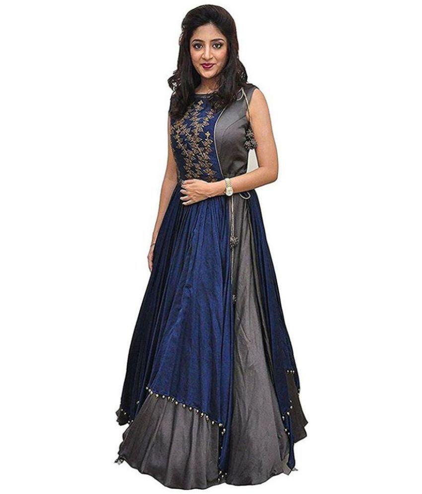 Shree Kuldevi Creation Cotton Grey A- line Dress