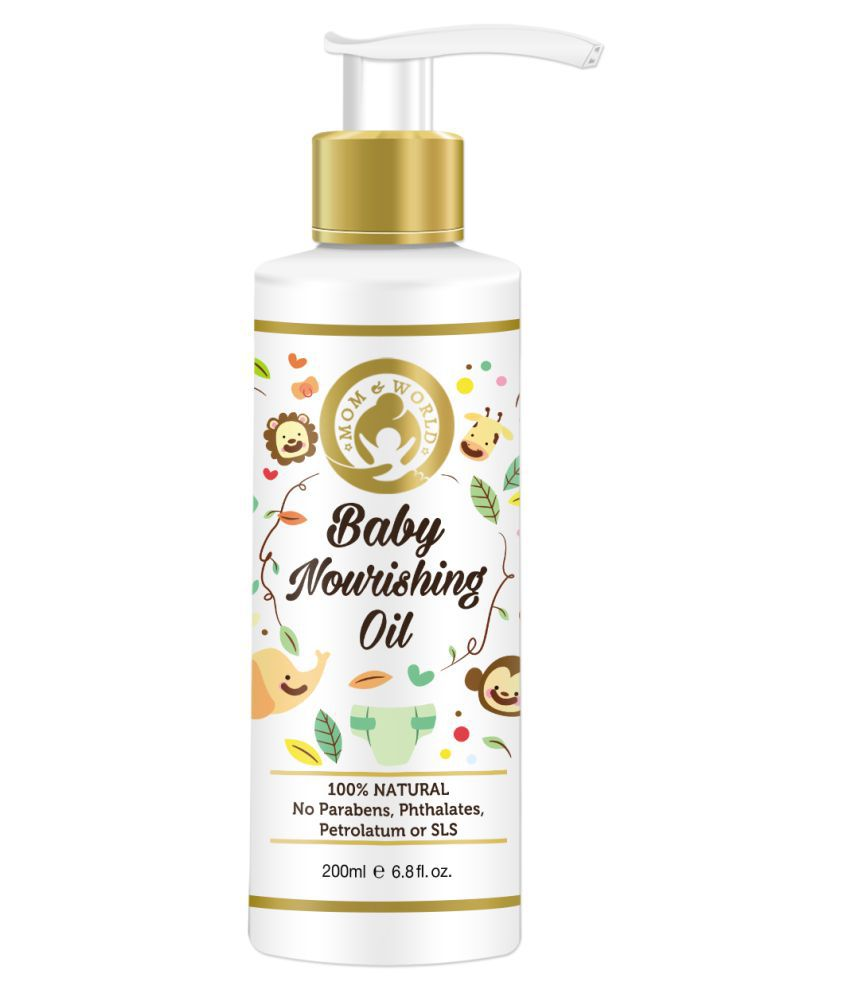 Mom & World Baby Nourishing Oil For Baby Massage - 200ml (With 100% Pure Oils) - No Mineral Oil