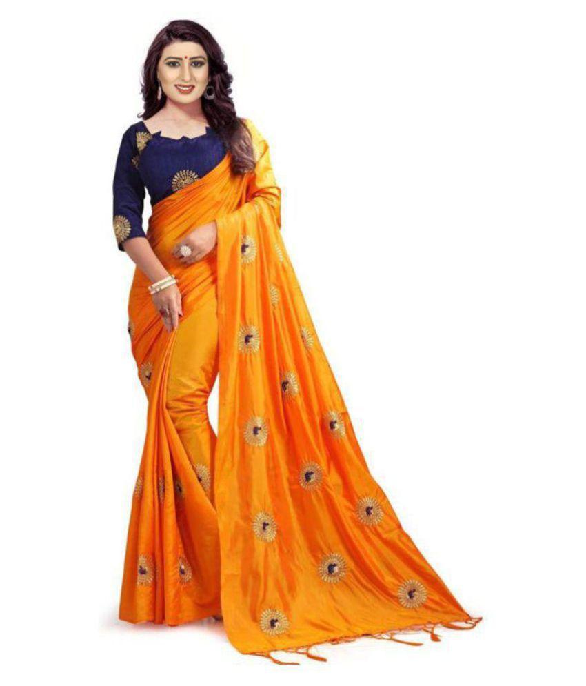 Vinayak Textile Orange Silk Saree