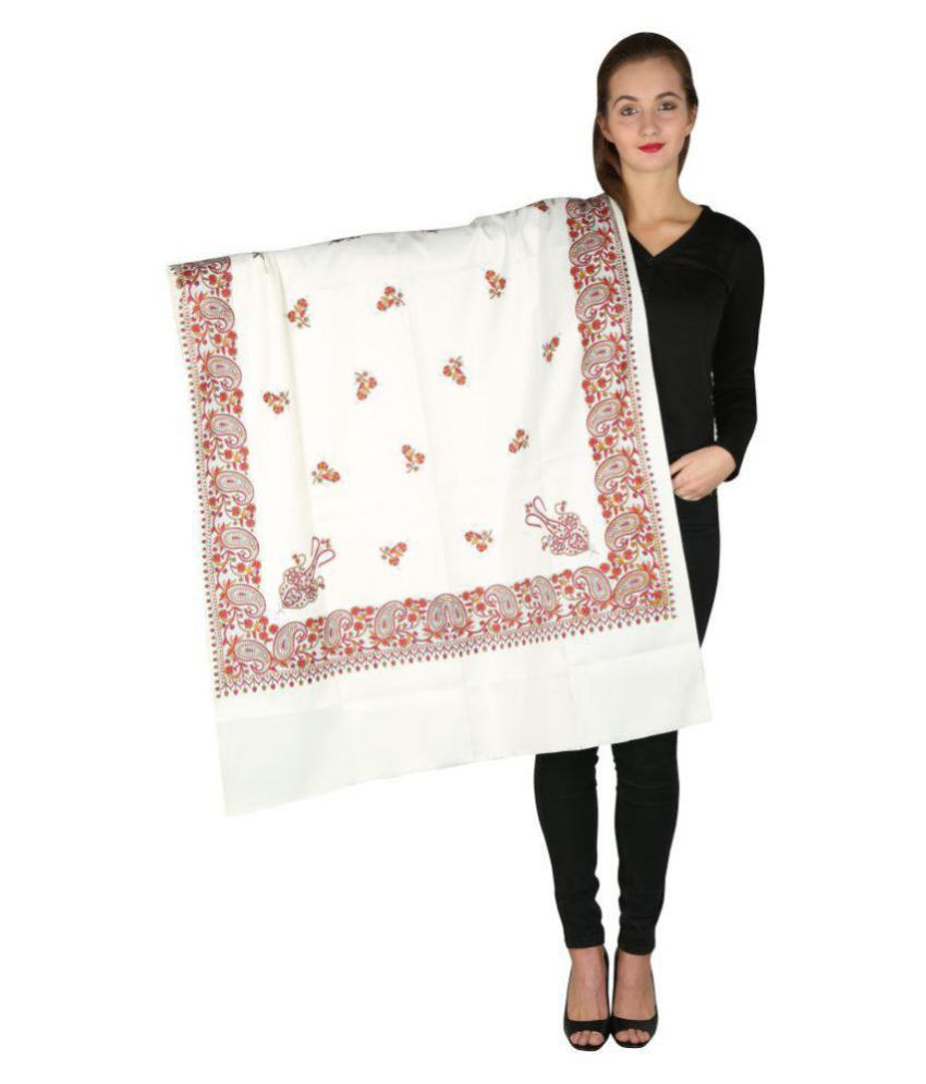 Aarzoo Off White Floral Shawl