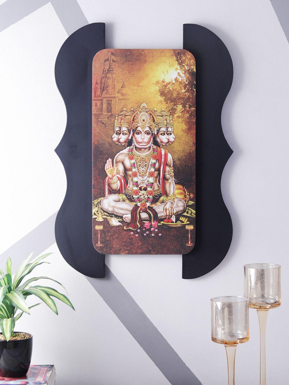 Home Sparkle Sparkling Digital Print Hanuman On Wooden Frame Wall Art Wood Painting With Frame