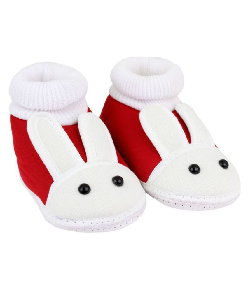 Neska Moda Baby Unisex Rabbit Red Booties/Shoes For 0 To 12 Months Infants-SK130