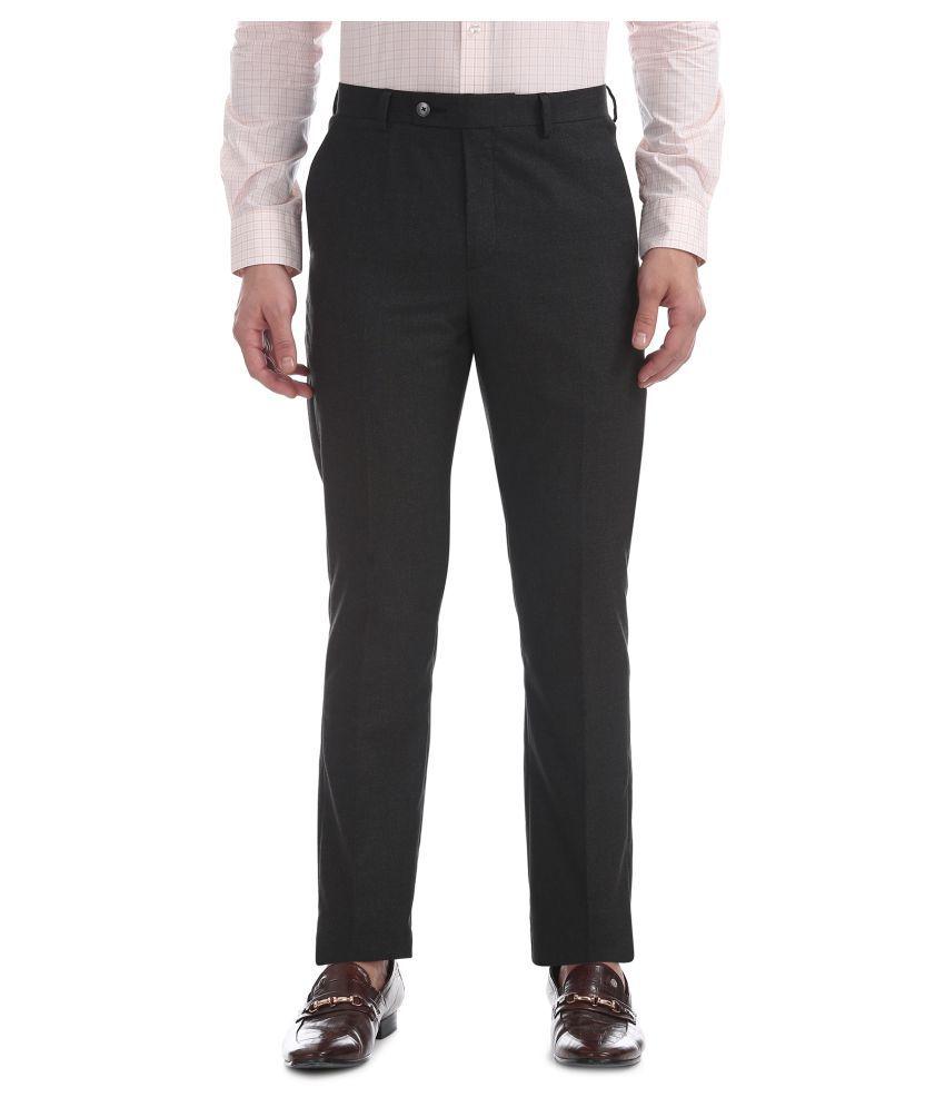 Arrow New York Grey Regular -Fit Flat Trousers