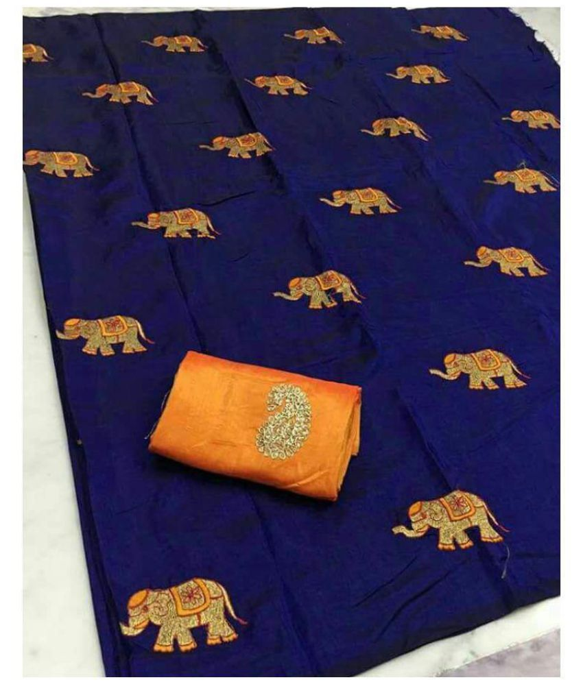 Yeyze Navy Silk Saree