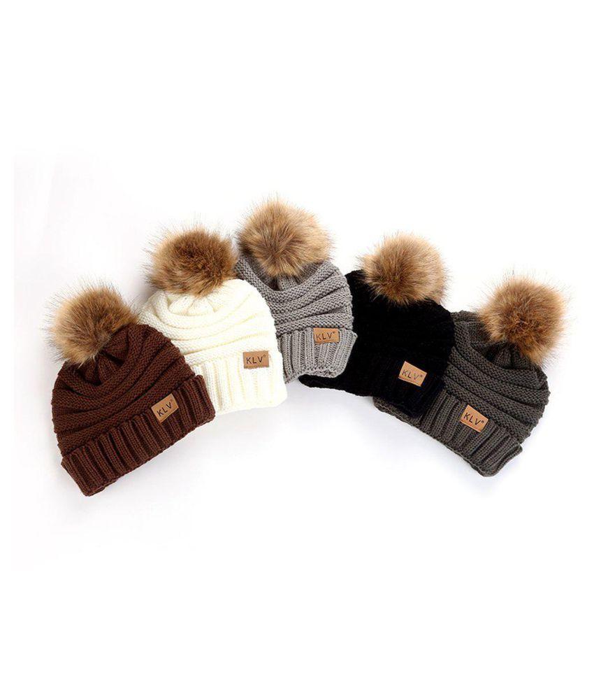 223733121 Female Ball Cap Pom Poms Hat Women Knitted Beanies Cap Thick Soft ...