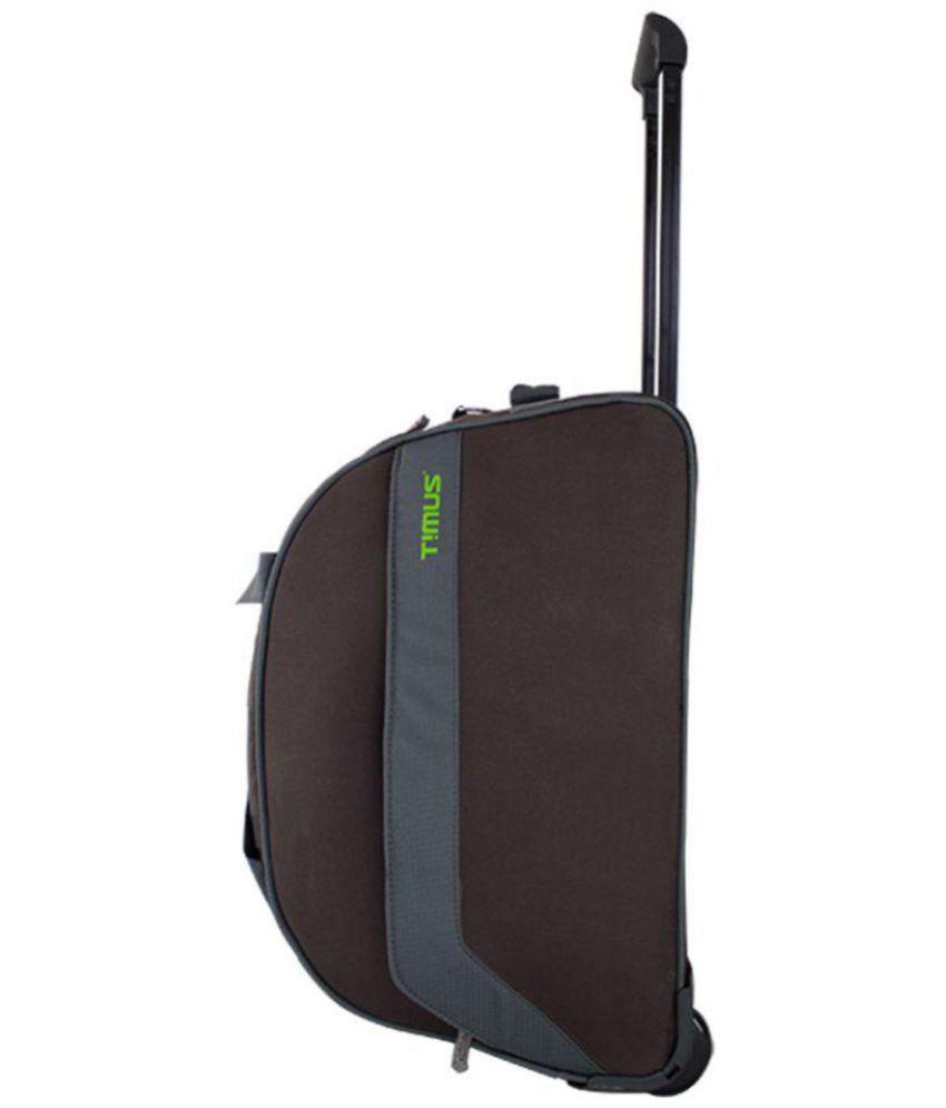 33689a613d15 Timus Brown Solid Duffle Bag travel bag with 2 wheels trolley - Buy Timus  Brown Solid Duffle Bag travel bag with 2 wheels trolley Online at Low Price  - ...