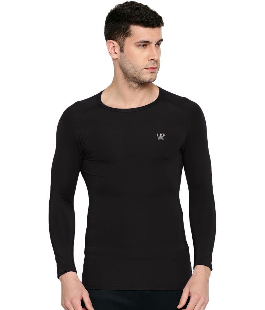 WCRIGHT Black Polyester Lycra T-Shirt Single Pack