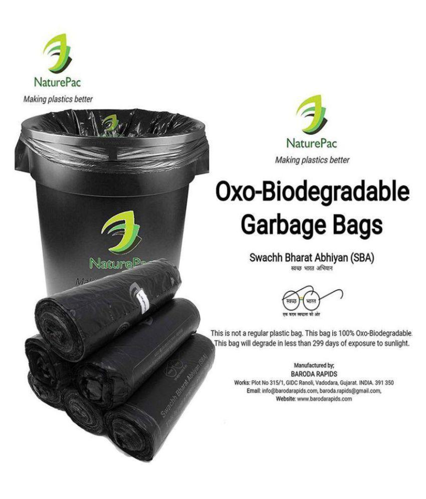 Naturepac Garbage Bags Biodegradable Premium Black Large Size 60 Cm X 81 Cm / 24x32 Inches, (45 Bags)