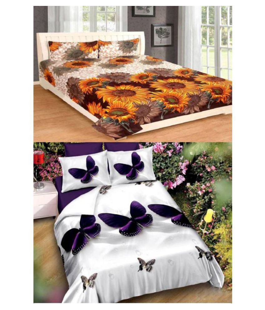 New panipat textile zone Poly Cotton 2 Double Bedsheets with 4 Pillow Covers