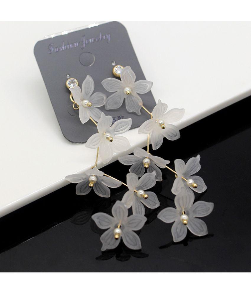 Version Of Joker Slim 925 Silver Needle Earrings Long Tassel Earrings Fashion Flower Earrings Fresh Earrings