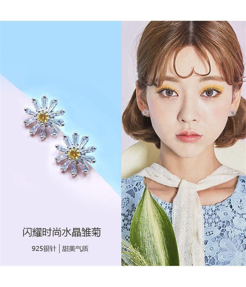 925 Pure Silver Needle Daisy Simple  Small Temperament Fresh Zircon Earrings Earrings