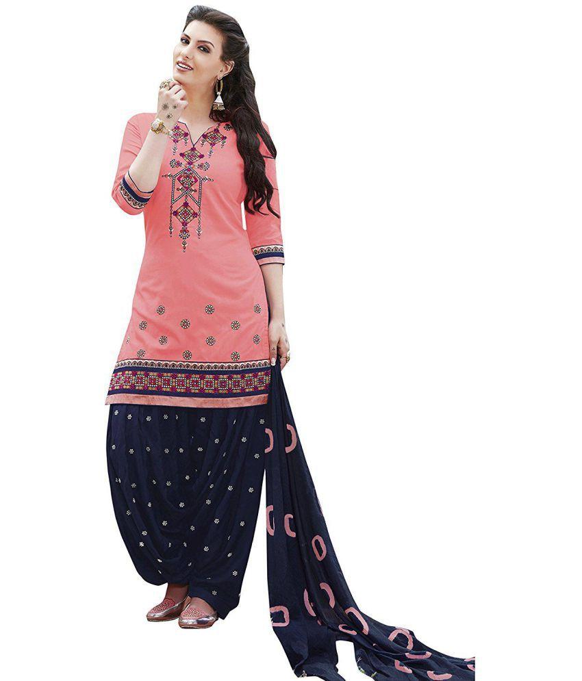 Nivah Fashion Peach Cotton Blend Dress Material