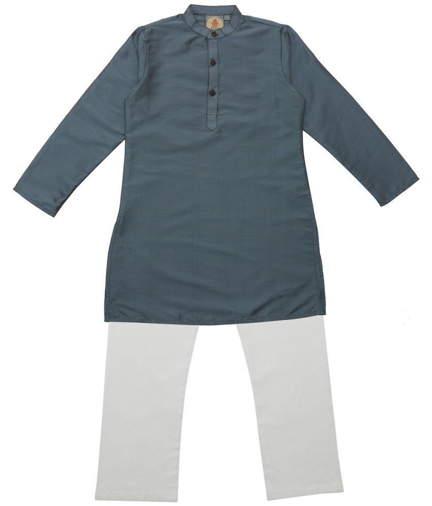 Salwar Studio Blue & Gold Ethnic Wear Kids Cotton Kurta Pyjama Set For Boys