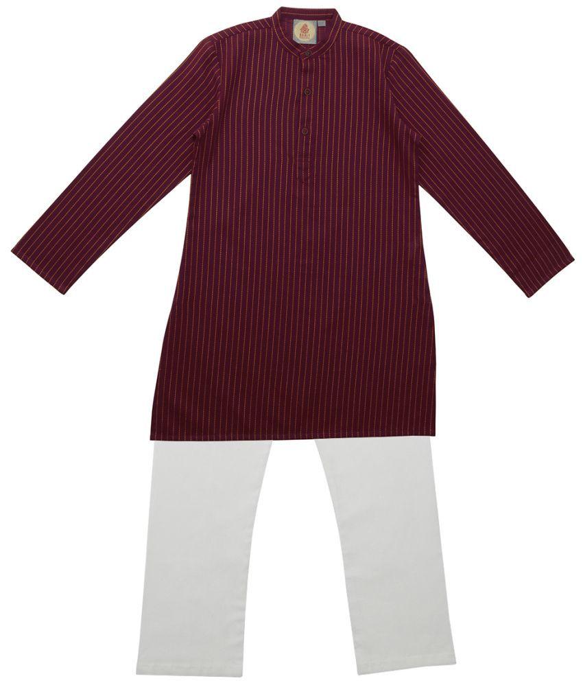Salwar Studio Maroon Ethnic Wear Kids Cotton Kurta Pyjama Set For Boys