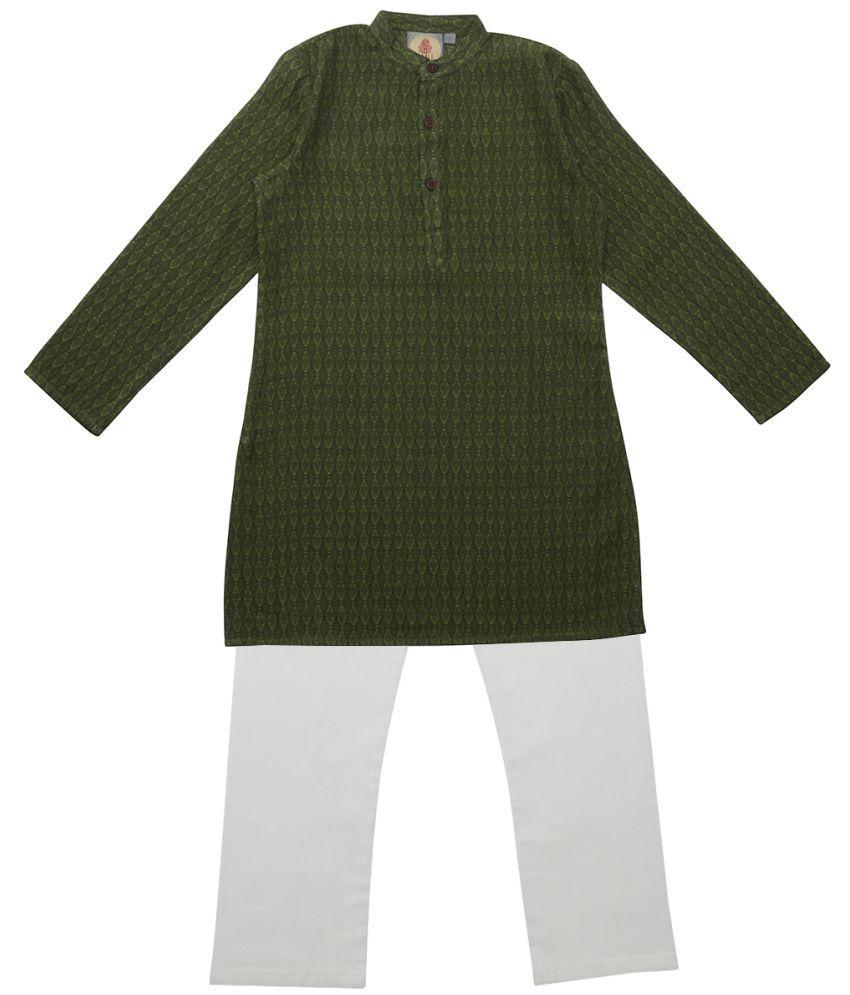 Salwar Studio Mehendi Green Ethnic Wear Kids Cotton Kurta Pyjama Set For Boys