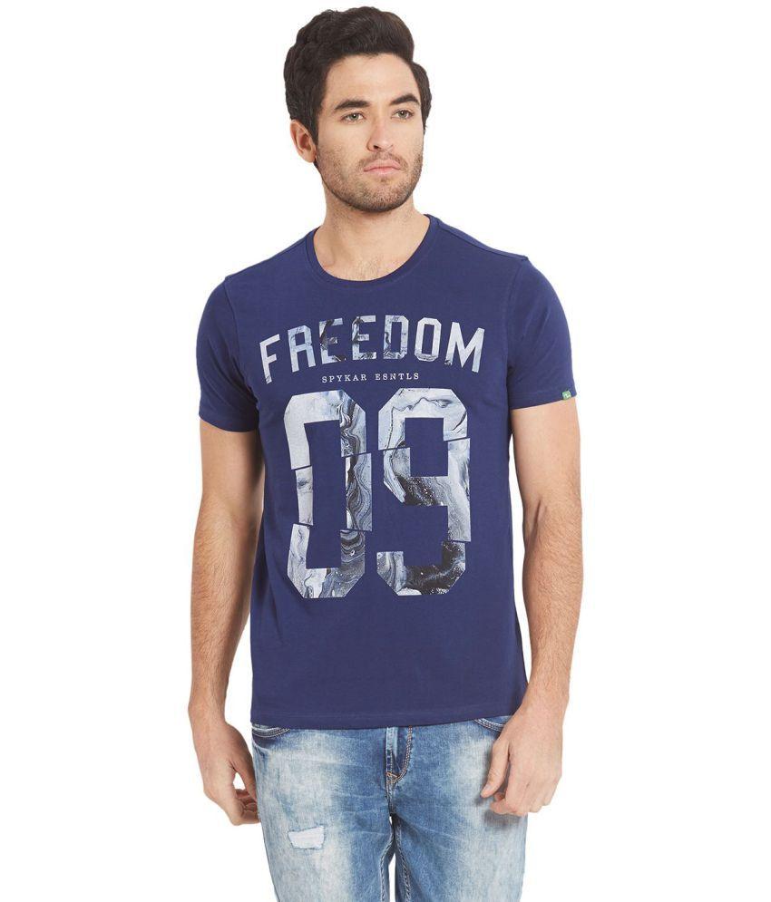 Spykar Blue Half Sleeve T-Shirt